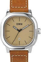 EDWIN Watch Cream Dial With Brown Leather Band Anderson