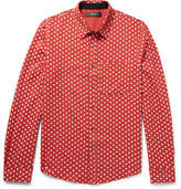 Amiri Slim-fit Polka-dot Cotton And Cashmere-blend Shirt - Brick