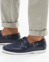 Asos Boat Shoes in Navy With White Sole