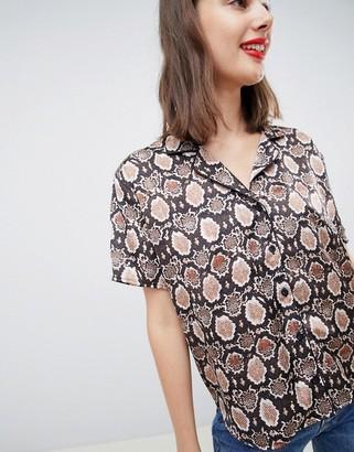 Asos Design DESIGN bowling shirt in snake animal print-Multi