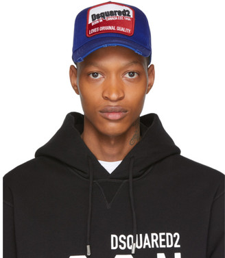 DSQUARED2 Blue Distressed Born In Canada Baseball Cap