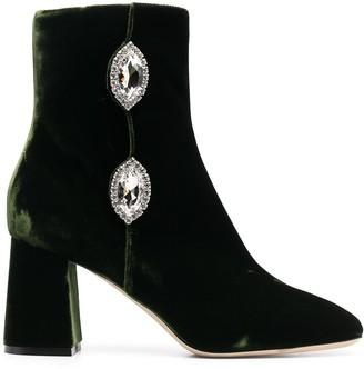 Giannico Julie velvet ankle boots