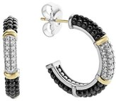 Lagos Women's 'Black & White Caviar' Diamond Hoops