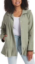 Live A Little Women's Non-Denim Casual Jackets OLIVE - Olive Ruffle-Hem Button-Up Hooded Swing Coat - Women