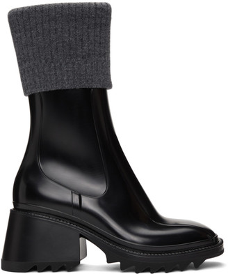Chloé Black and Grey Betty Rain Boots