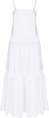 Rosetta Getty Tiered Poplin Maxi Dress