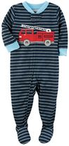 Carter's Toddler Boy Striped Firetruck Footed Pajamas
