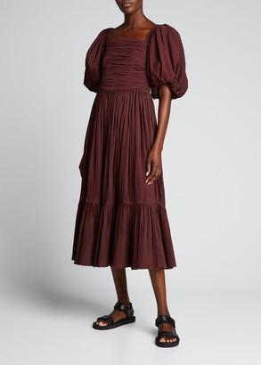 Sea Nadja Puff-Sleeve Pleat Dress