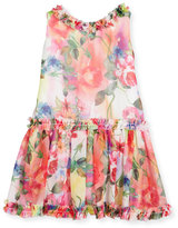 Helena Sleeveless Smocked Floral Chiffon Dress, Multicolor, Size 7-14