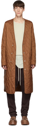 Rick Owens Brown Long Quilted Liner Coat