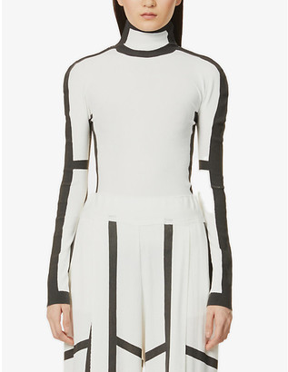 Issey Miyake Graphic-print high-neck stretch-jersey top