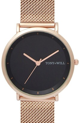 TONY+WILL Lunar Mesh Black/Rose Gold TWM005E Watch