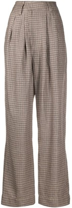 Brunello Cucinelli Houndstooth Wide-Leg Trousers