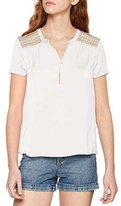 Vero Moda Short-Sleeved Blouse with Grandad Collar and Openwork Back