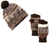 Muk Luks Women's Pom Cuff Beanie and Flip Glove Set