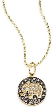 Sydney Evan Small Elephant 14K Yellow Gold & Diamond Medallion Necklace