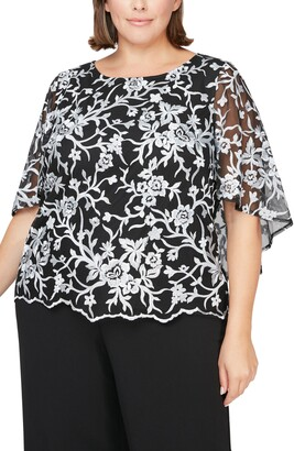 Alex Evenings Capelet Sleeve Embroidered Blouse