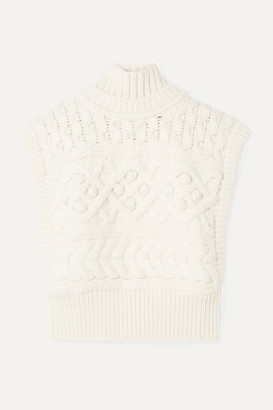 Isabel Marant Minea Oversized Cable-knit Merino Wool Turtleneck Sweater - Ecru