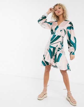 Liquorish wrap mini dress in contrast floral print