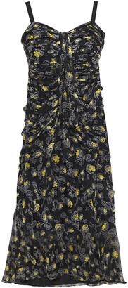 Cinq à Sept Ruched Floral-print Silk-voile Dress