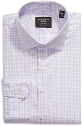 Nordstrom Trim Fit Plaid Non-Iron Stretch Dress Shirt