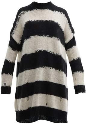 Acne Studios Kemily Distressed-stripe Wool Sweater Dress - Womens - Black White