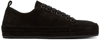 Ann Demeulemeester Black Distressed Suede Sneakers