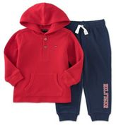 Tommy Hilfiger 2-Piece Thermal Shirt and Jogger Pant in Red/Blue
