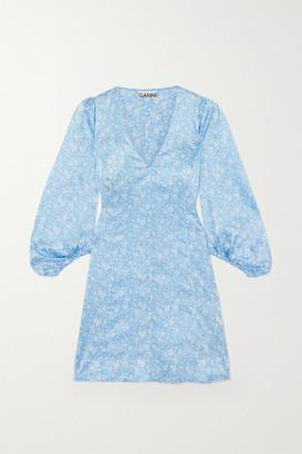 Ganni Floral-print Stretch-silk Satin Mini Dress