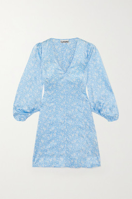 Ganni Floral-print Stretch-silk Satin Mini Dress - Blue