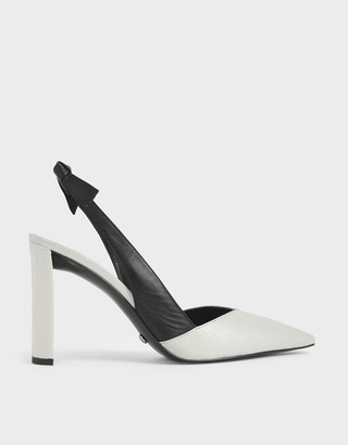 Charles & Keith Leather Croc-Effect Bow-Slingback Heels
