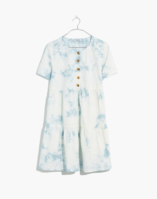 Madewell Tie-Dye Button-Front Short-Sleeve Tiered Mini Dress