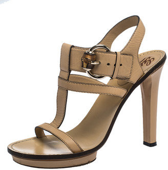 Gucci Beige Leather Bamboo Buckle T Strap Open Toe Sandals Size 38