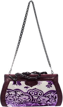 Roberto Cavalli Purple Satin and Lizard Embossed Leather Frame Chain Clutch