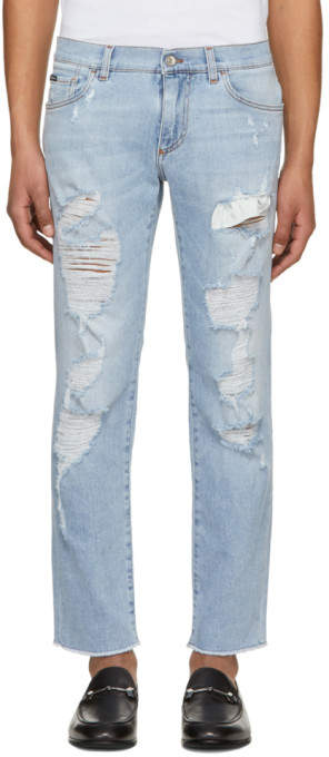 Dolce & Gabbana Blue Faded Ripped Jeans