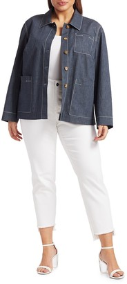 Lafayette 148 New York, Plus Size Wellesley Topstitched Button Jacket