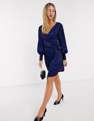 Vero Moda wrap dress in blue animal print