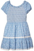 Polo Ralph Lauren Smocked Floral Cotton Dress (Big Kids) (Blue/White) Girl's Clothing