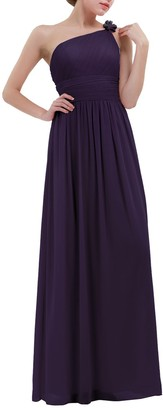 CHICTRY Women's Soft Chiffon Floral One Shoulder Long Bridesmaid Dresses Prom Gowns Dark Purple 10