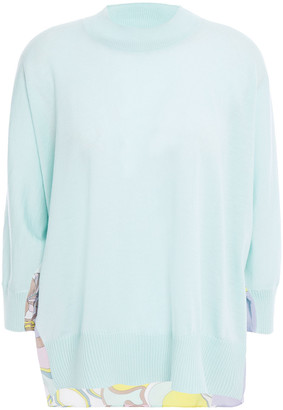 Emilio Pucci Printed Silk Crepe De Chine And Wool Sweater