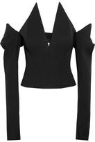 Saint Laurent Off-the-shoulder Grain De Poudre Wool Top - Black