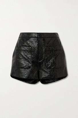 Saint Laurent Crinkled Glossed Faux Leather Shorts - Black