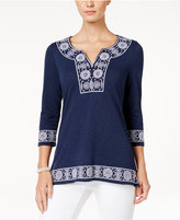 Charter Club Cotton Embroidered Peasant Top, Only at Macy's