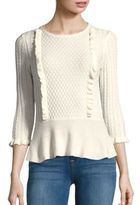 1 STATE Cable Front Peplum Sweater