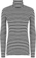 Zara Fashion -Women's Polo Cowl Neck Striped Monochrome Print Stretch Top (4-6, )