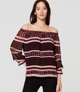 LOFT Square Stripe Off the Shoulder Blouse