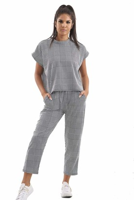 Love Celeb Look Women Check Dog Tooth Print Boxy Suit Loungewear Tracksuit Ladies Party Dress (Grey Check M/L :12/14)