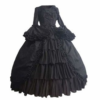 LRWEY Women Girls Dresses Kawaii Style Japanese Fancy Dress Black White Cotton Basque Gothic Boned Lace Corsets and Steampunk Dress with Skirt Plus Size