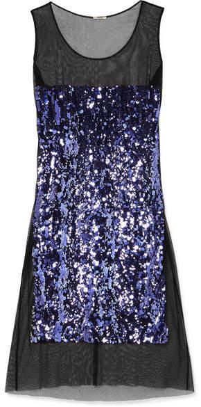 Miu Miu Sequin-embellished Cotton-tulle Midi Dress - Purple