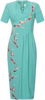 Stella Jean Luminosa Short Sleeve V-Neck Dress